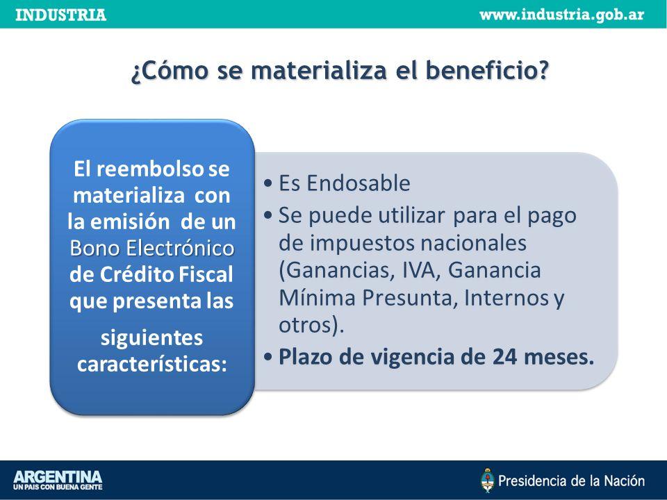 ¿Cómo se materializa el beneficio? Es Endosable Se puede utilizar para el pago de impuestos nacionales (Ganancias, IVA, Ganancia Mínima Presunta, Inte
