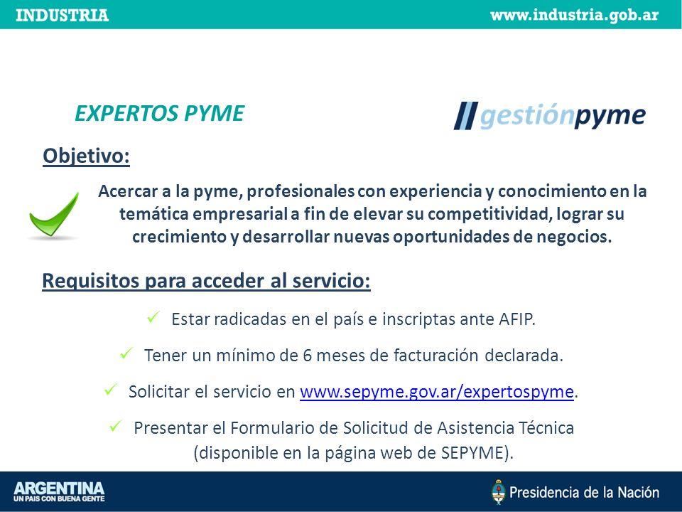 Acercar a la pyme, profesionales con experiencia y conocimiento en la temática empresarial a fin de elevar su competitividad, lograr su crecimiento y