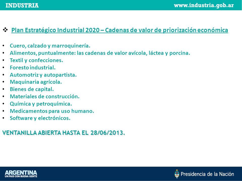 Plan Estratégico Industrial 2020 – Cadenas de valor de priorización económica Cuero, calzado y marroquinería. Alimentos, puntualmente: las cadenas de
