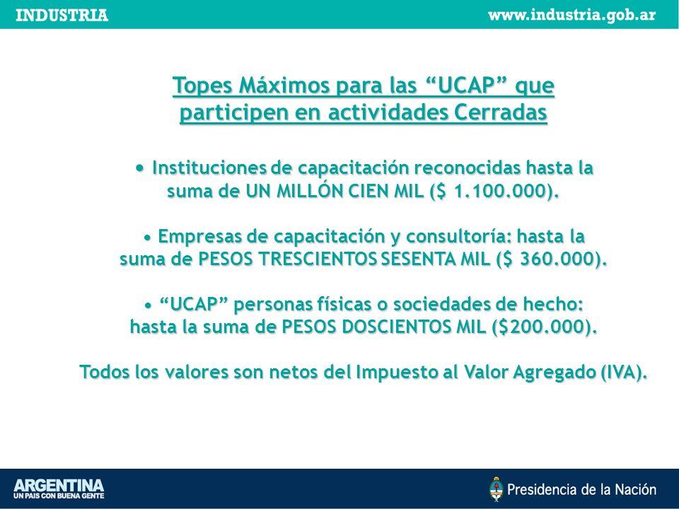 Topes Máximos para las UCAP que participen en actividades Cerradas Instituciones de capacitación reconocidas hasta la Instituciones de capacitación re