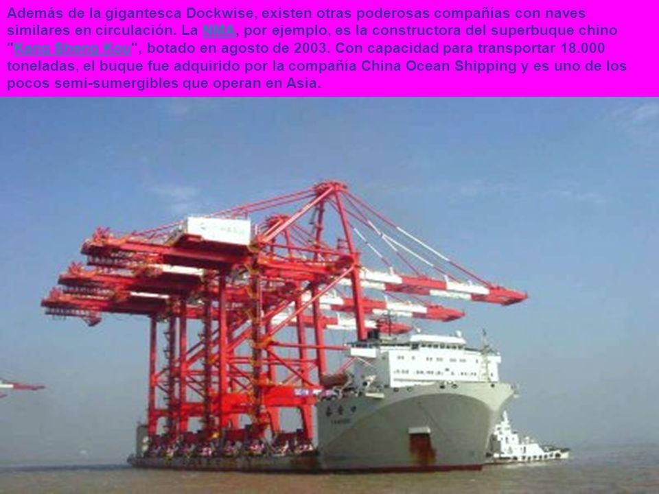 Además de la gigantesca Dockwise, existen otras poderosas compañías con naves similares en circulación. La NMA, por ejemplo, es la constructora del su