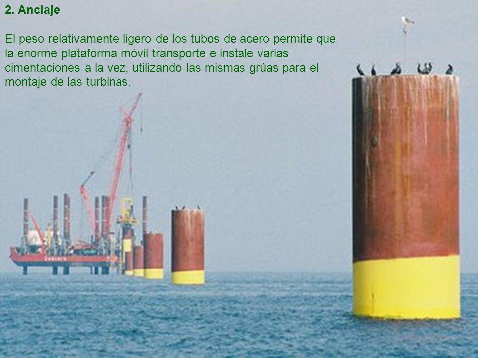 2. Anclaje El peso relativamente ligero de los tubos de acero permite que la enorme plataforma móvil transporte e instale varias cimentaciones a la ve
