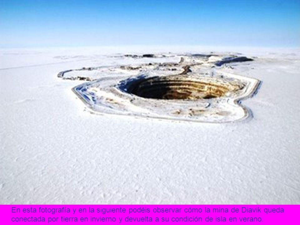 En esta fotografía y en la siguiente podéis observar cómo la mina de Diavik queda conectada por tierra en invierno y devuelta a su condición de isla e