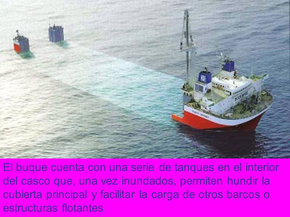 El buque cuenta con una serie de tanques en el interior del casco que, una vez inundados, permiten hundir la cubierta principal y facilitar la carga d