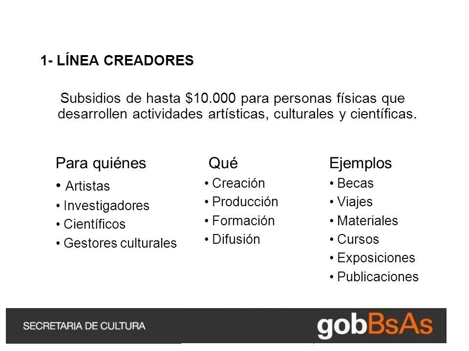 1- LÍNEA CREADORES Subsidios de hasta $10.000 para personas físicas que desarrollen actividades artísticas, culturales y científicas.