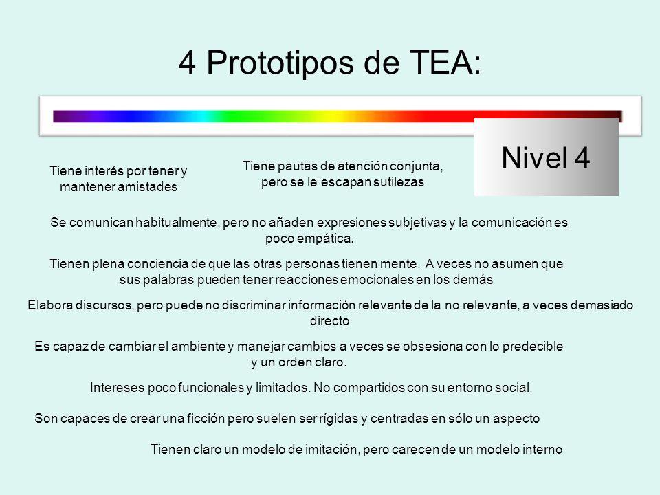 4 Prototipos de TEA: Nivel 4 Tiene interés por tener y mantener amistades Tiene pautas de atención conjunta, pero se le escapan sutilezas Se comunican