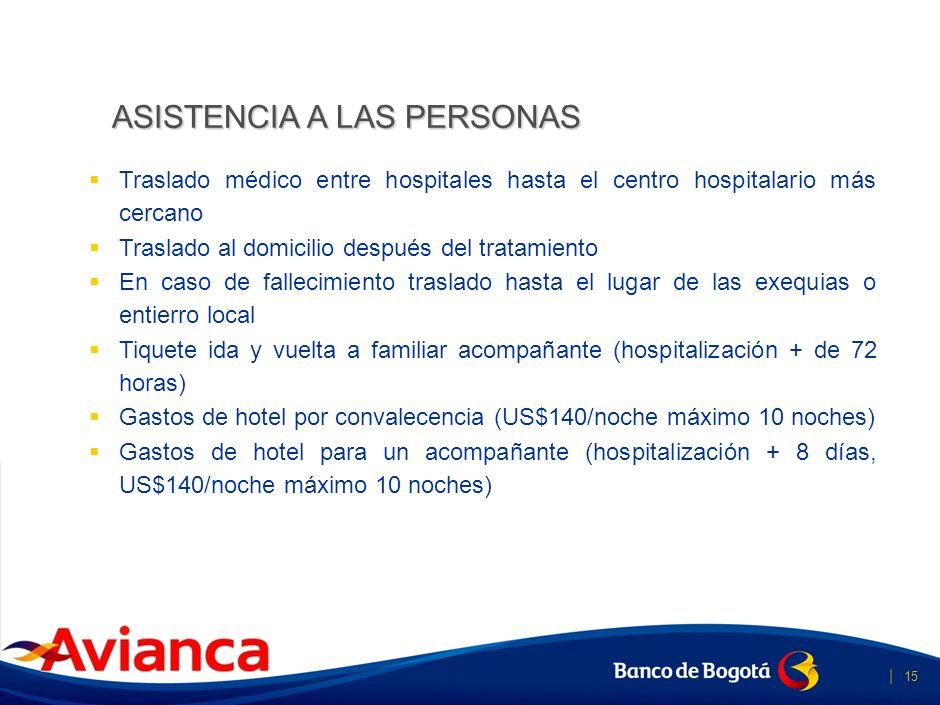   14 Gastos Médicos y de hospitalización: Exterior Hasta US$40.000 Colombia Hasta US$2.000 Gastos Farmacéuticos no hospitalarios (US$500) Gastos odont