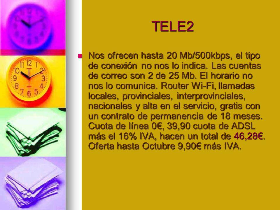 TELE2 TELE2 Nos ofrecen hasta 20 Mb/500kbps, el tipo de conexión no nos lo indica.