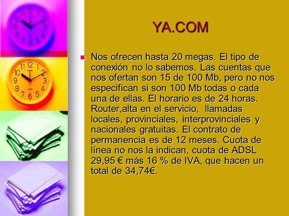 YA.COM YA.COM Nos ofrecen hasta 20 megas. El tipo de conexión no lo sabemos.