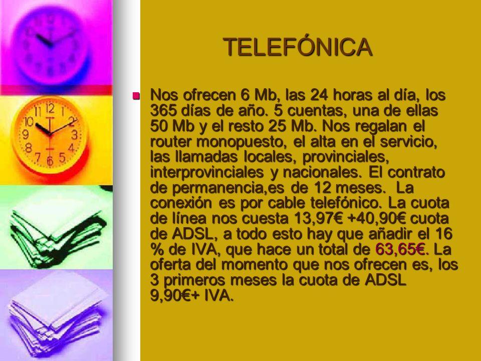 TELEFÓNICA TELEFÓNICA Nos ofrecen 6 Mb, las 24 horas al día, los 365 días de año.