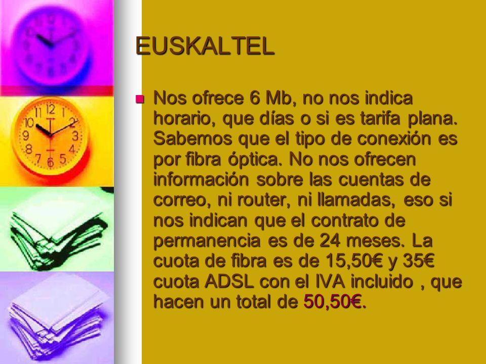 EUSKALTEL Nos ofrece 6 Mb, no nos indica horario, que días o si es tarifa plana.