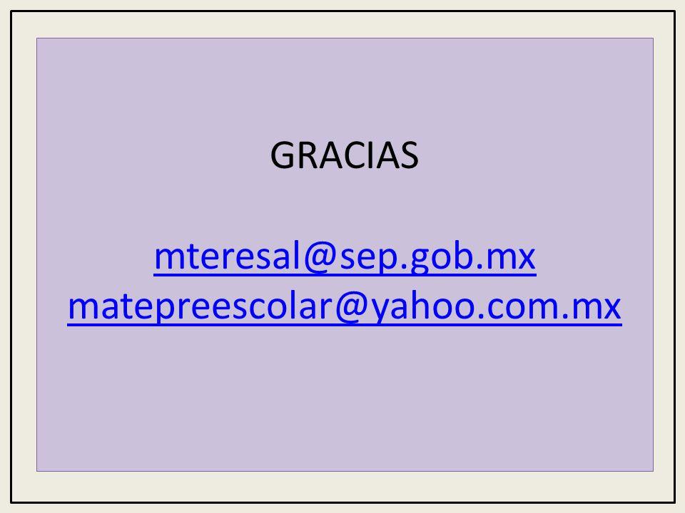 GRACIAS mteresal@sep.gob.mx matepreescolar@yahoo.com.mx mteresal@sep.gob.mx matepreescolar@yahoo.com.mx
