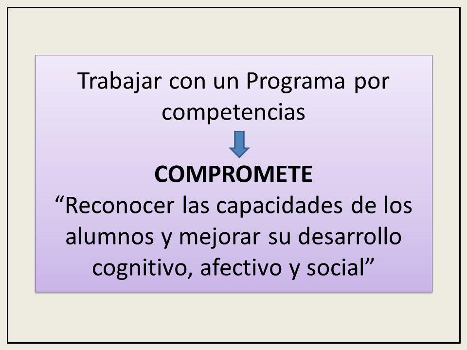Trabajar con un Programa por competencias COMPROMETE Reconocer las capacidades de los alumnos y mejorar su desarrollo cognitivo, afectivo y social