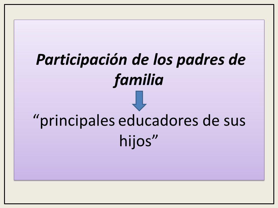 Participación de los padres de familia principales educadores de sus hijos