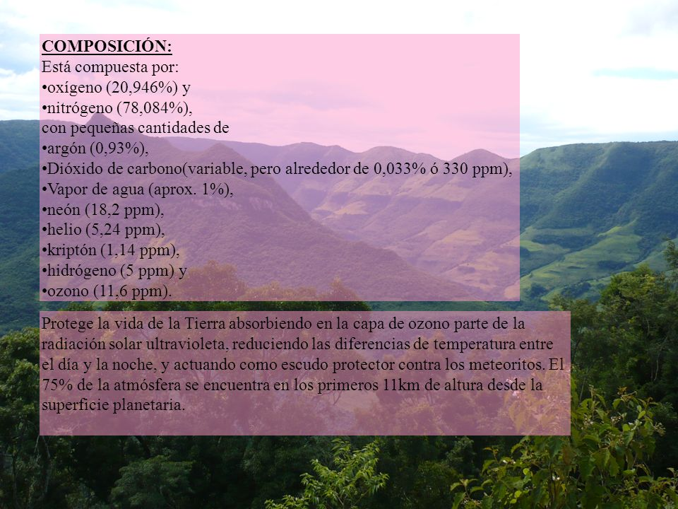 4 COMPOSICIÓN: Está compuesta por: oxígeno (20,946%) y nitrógeno (78,084%), con pequeñas cantidades de argón (0,93%), Dióxido de carbono(variable, per