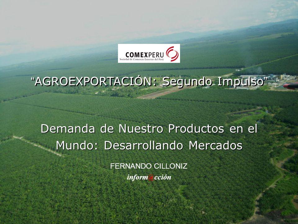 Demanda de Nuestro Productos en el Mundo: Desarrollando Mercados FERNANDO CILLONIZ inform@cción AGROEXPORTACI Ó N: Segundo Impulso