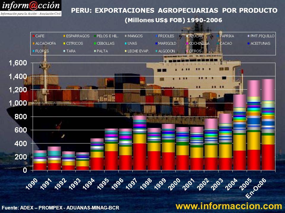 Fuente: ADEX - ADUANAS PERU: EXPORTACIONES HORTOFRUTICOLAS (US$ Millones) 2000 – 2006* www.informaccion.com * Al 15 oct - preliminar