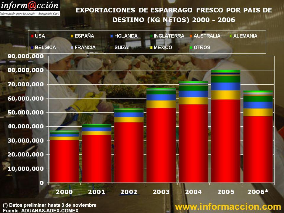 EXPORTACIONES DE ESPARRAGO EN CONSERVAS POR PAIS DE DESTINO (KG NETOS) 2000 - 2006 www.informaccion.com (*) Dato preliminar hasta 25 de octubre Fuente:ADEX–ADUANAS-COMEX