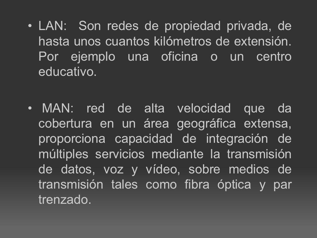 WAN: Es una red de telecomunicaciones que cubre un área amplia (es decir, cualquier red que une a través de metropolitano, regional, o de las fronteras nacionales).