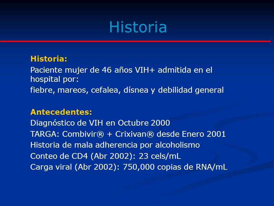 Historia Examen físico: Adelgazada, Peso 46 Kgs, IMC: 18.7 Palidez marcada.