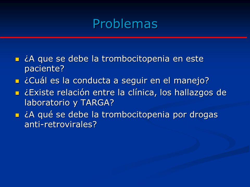 Objetivo de la Discusión 1.Fijar conceptos básicos sobre el desarrollo de trombocitopenia en pacientes VIH+ en tratamiento anti-retroviral con agentes IPs 2.Precisar las estrategias de manejo basadas en evidencias recientes