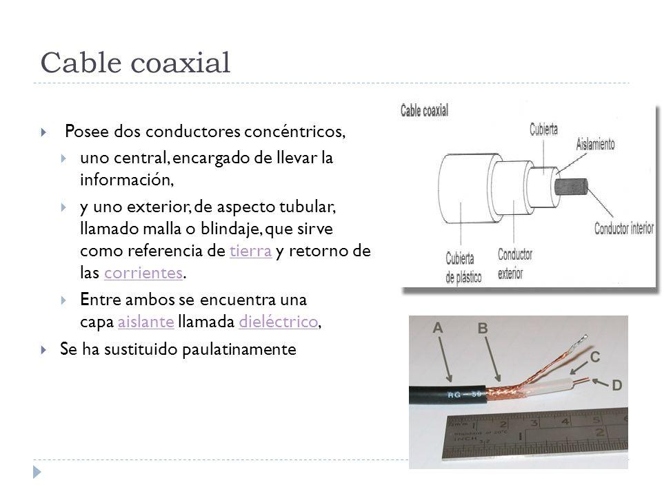 Cable coaxial Posee dos conductores concéntricos, uno central, encargado de llevar la información, y uno exterior, de aspecto tubular, llamado malla o