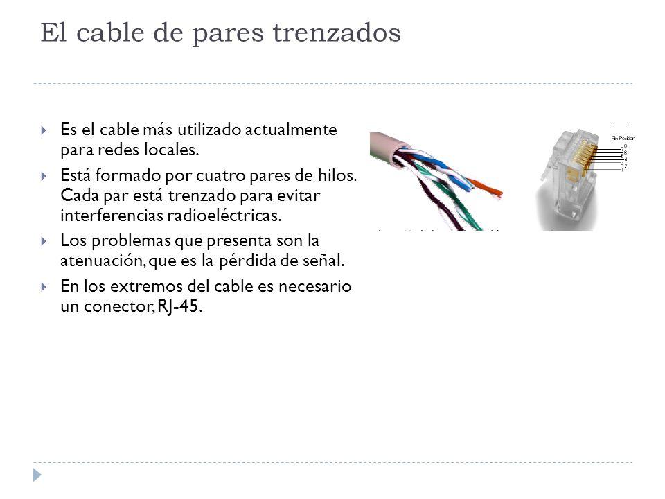 El cable de pares trenzados Es el cable más utilizado actualmente para redes locales. Está formado por cuatro pares de hilos. Cada par está trenzado p