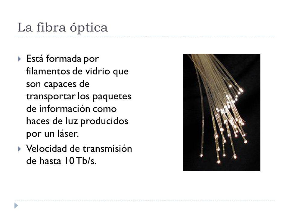 La fibra óptica Está formada por filamentos de vidrio que son capaces de transportar los paquetes de información como haces de luz producidos por un l