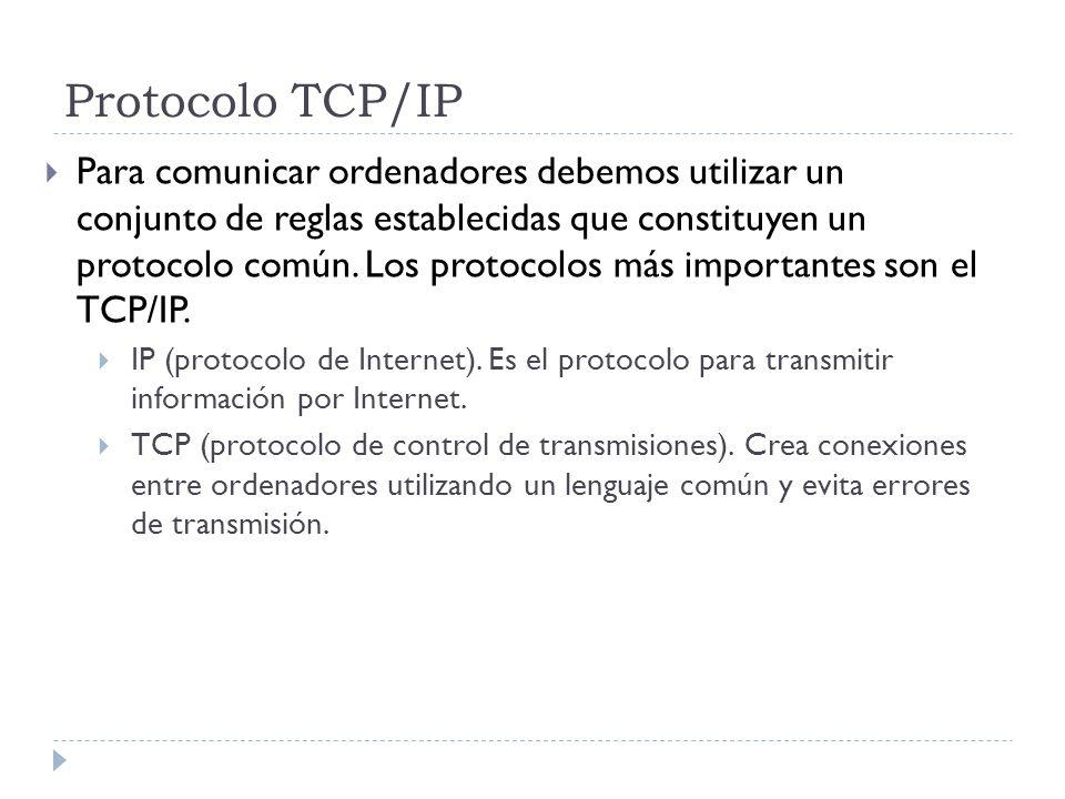 Protocolo TCP/IP Para comunicar ordenadores debemos utilizar un conjunto de reglas establecidas que constituyen un protocolo común. Los protocolos más