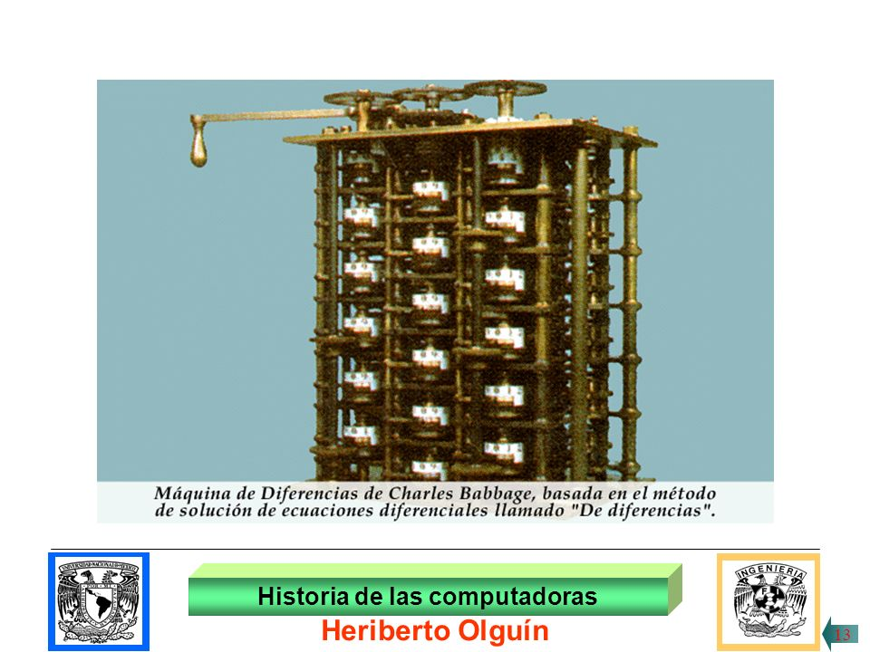 30/ABR/1999 En 1892 Charles Babbage, matemático inglés construye la máquina analítica , la cual combina la idea de la tarjeta perforada con aquella de las ruedas de acarreo automático.