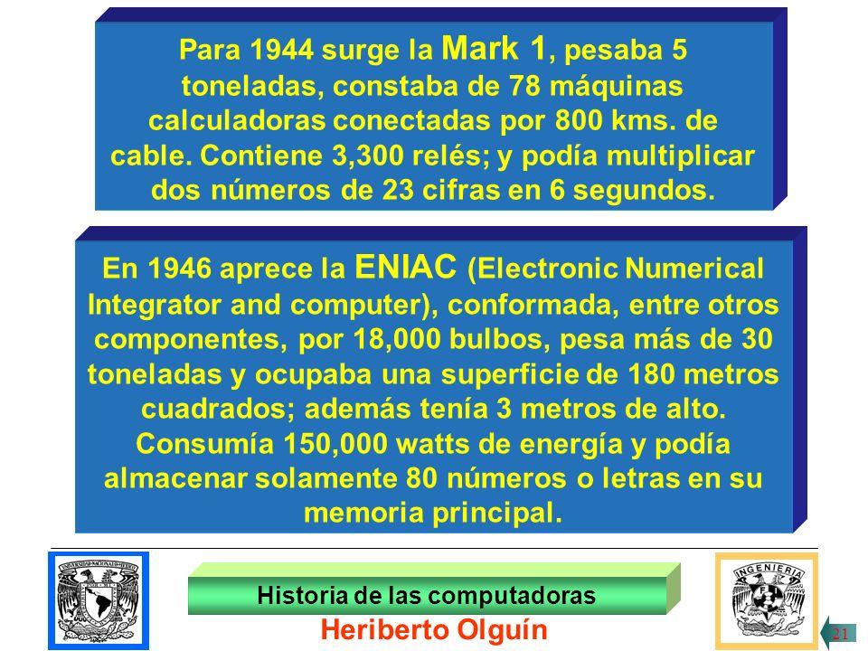 30/ABR/1999 Desde 1943, el científico Jhon Von Neumann proyecta lo que hoy es universalmente reconocido como el verdadero prototipo de los modernos procesadores electrónicos, máquina que se llamará EDVAC (Electronic Discrete Variable Automatic Computer) Historia de las computadoras Heriberto Olguín 20