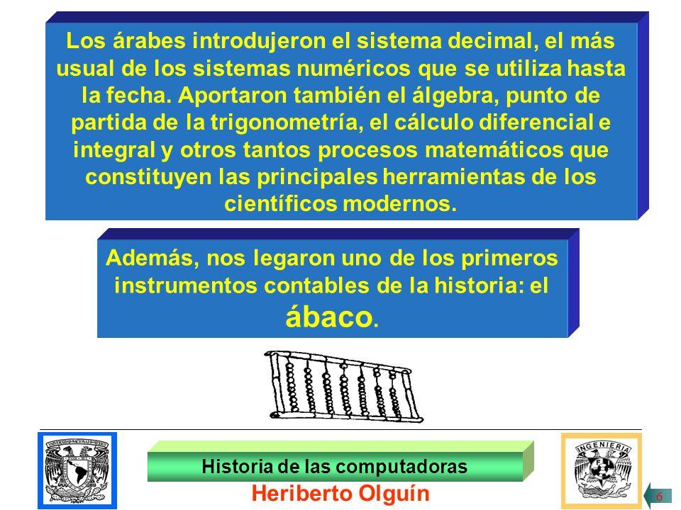 30/ABR/1999 Historia de las computadoras Heriberto Olguín 5 Caldeos, sumerios, babilonios, egipcios, utilizaban todos los días números, cuentas, representaciones, procesos matemáticos en sus operaciones elementales.