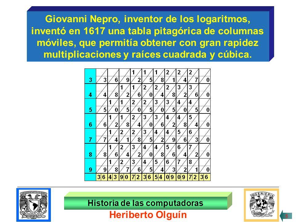30/ABR/1999 Giovanni Nepro, inventor de los logaritmos, inventó en 1617 una tabla pitagórica de columnas móviles, que permitía obtener con gran rapidez multiplicaciones y raíces cuadrada y cúbica.