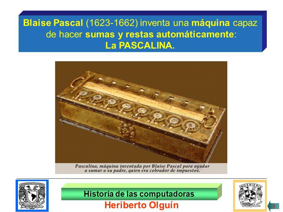 30/ABR/1999 Blaise Pascal (1623-1662) inventa una máquina capaz de hacer sumas y restas automáticamente: La PASCALINA.