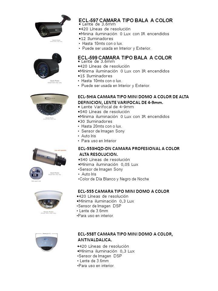 Lente de 3.6mm 420 Líneas de resolución Minina iluminación 0 Lux con IR encendidos 12 Iluminadores Hasta 10mts con o lux. Puede ser usada en Interior