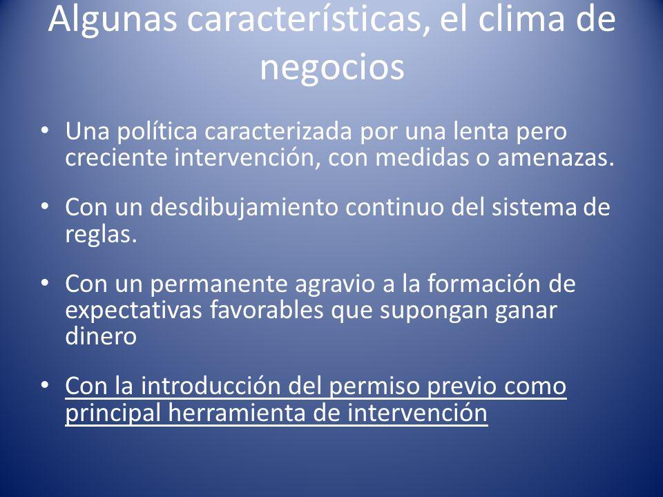 Algunas características, el clima de negocios Una política caracterizada por una lenta pero creciente intervención, con medidas o amenazas.