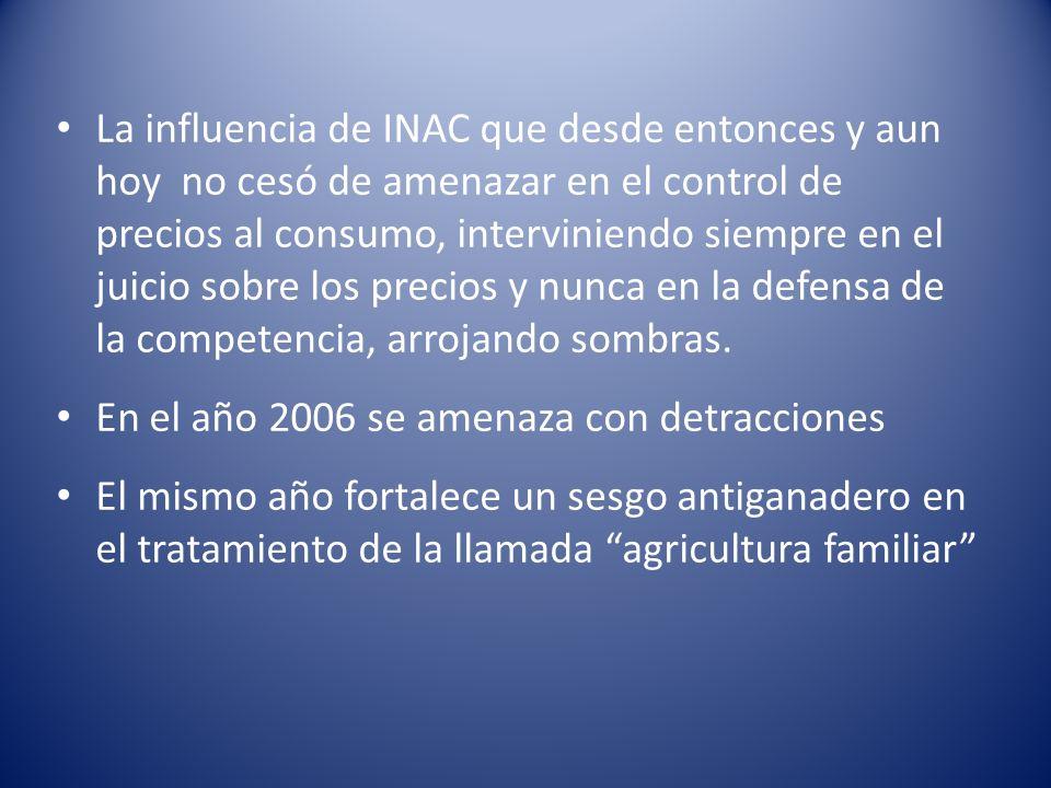 La influencia de INAC que desde entonces y aun hoy no cesó de amenazar en el control de precios al consumo, interviniendo siempre en el juicio sobre los precios y nunca en la defensa de la competencia, arrojando sombras.