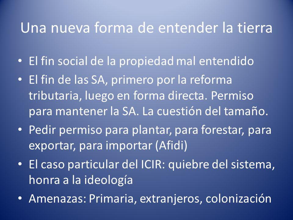 Una nueva forma de entender la tierra El fin social de la propiedad mal entendido El fin de las SA, primero por la reforma tributaria, luego en forma directa.