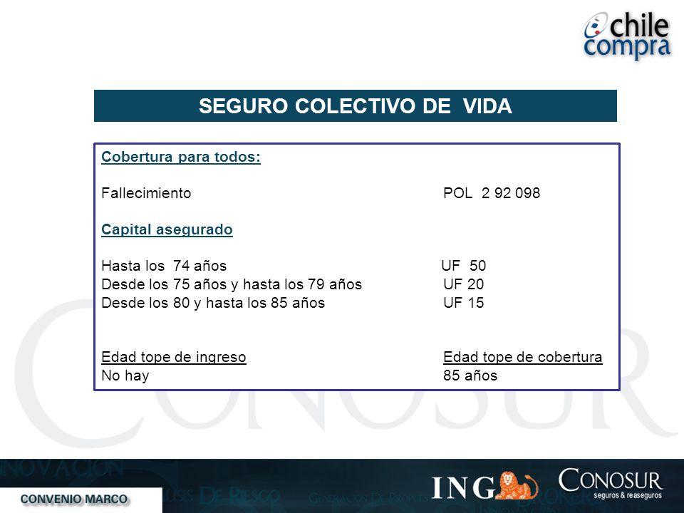 SEGURO COLECTIVO DE VIDA Cobertura para todos: FallecimientoPOL 2 92 098 Capital asegurado Hasta los 74 años UF 50 Desde los 75 años y hasta los 79 añ