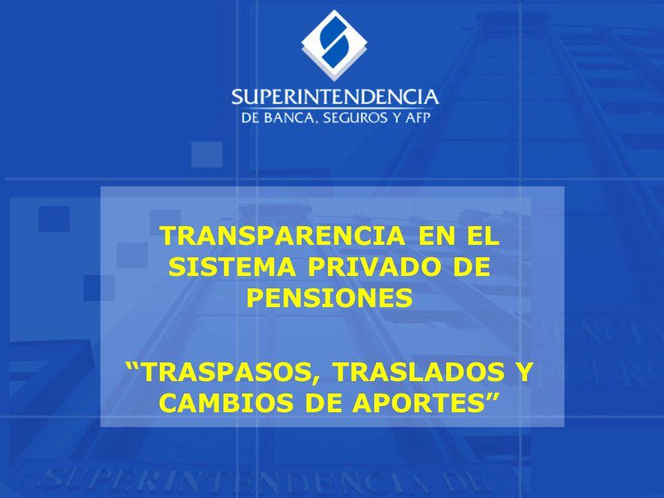 TRANSPARENCIA EN EL SISTEMA PRIVADO DE PENSIONES TRASPASOS, TRASLADOS Y CAMBIOS DE APORTES