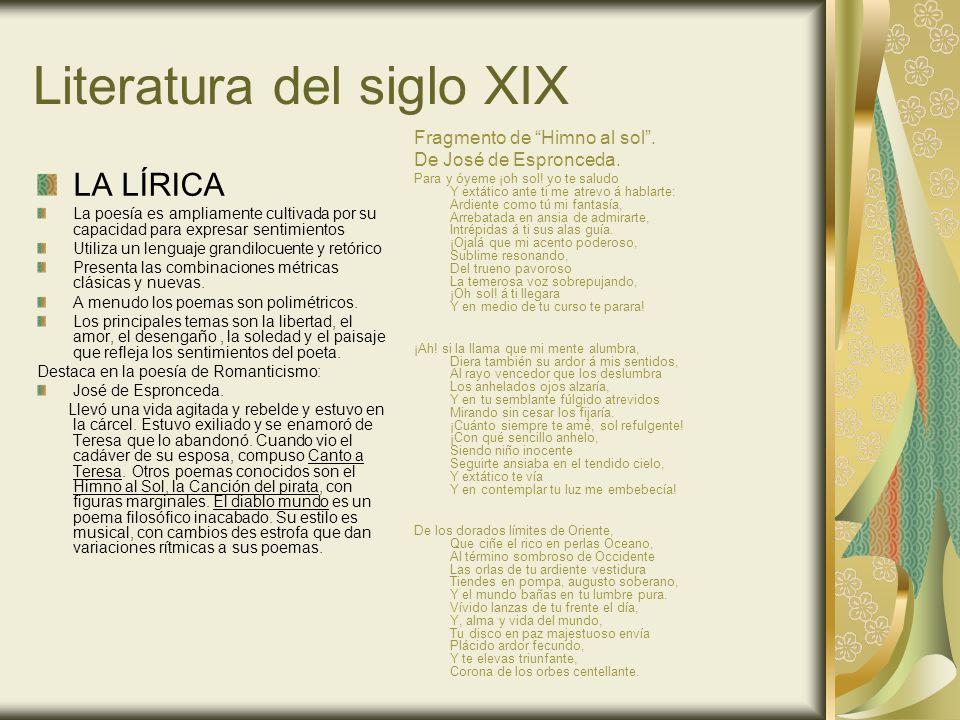 Literatura del siglo XIX LA PROSA Tuvo dos vertientes: Novela histórica: tuvo gran desarrollo en Europa con autores como Walter Scott (Ivanhoe) o Alejandro Dumas (El conde de Montecristo) y Enrique Gil y Carrasco (El señor de Bembibre).