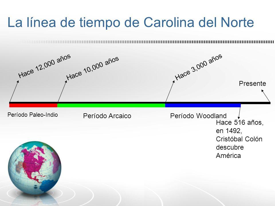 La línea de tiempo de Carolina del Norte Presente Hace 516 años, en 1492, Cristóbal Colón descubre América Hace 12,000 años Período Paleo-Indio Hace 1