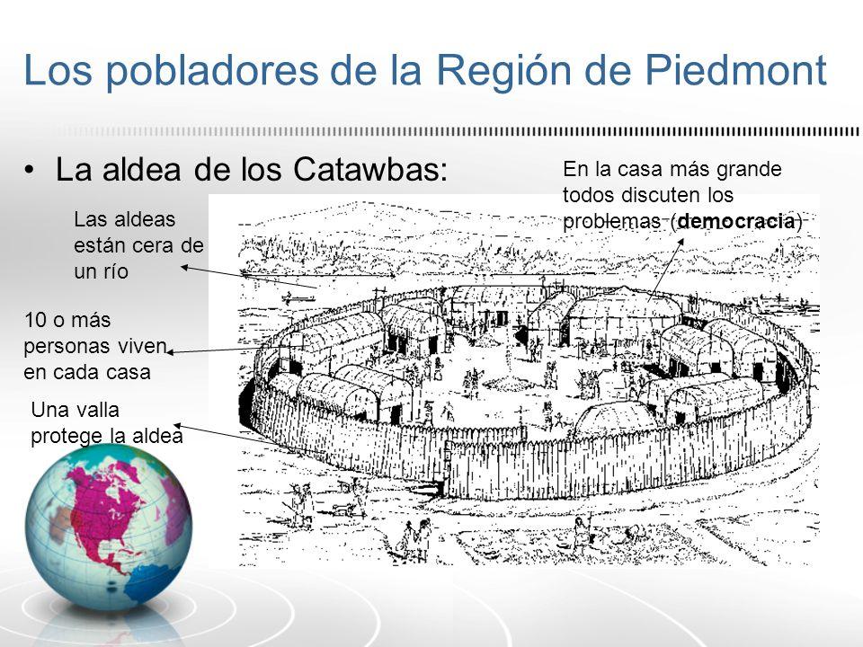 Los pobladores de la Región de Piedmont La aldea de los Catawbas: 10 o más personas viven en cada casa Una valla protege la aldea Las aldeas están cer