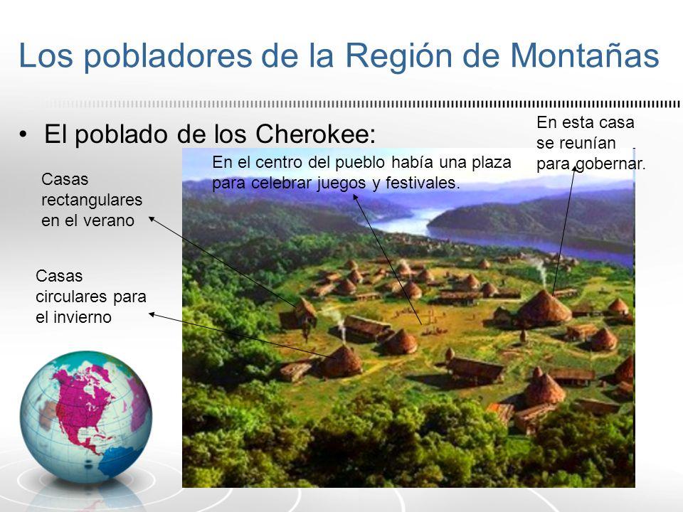 Los pobladores de la Región de Montañas El poblado de los Cherokee: Casas rectangulares en el verano Casas circulares para el invierno En esta casa se
