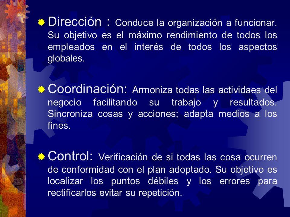 Dirección : Conduce la organización a funcionar.