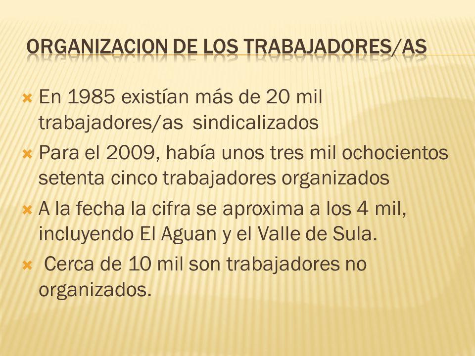 En 1985 existían más de 20 mil trabajadores/as sindicalizados Para el 2009, había unos tres mil ochocientos setenta cinco trabajadores organizados A l