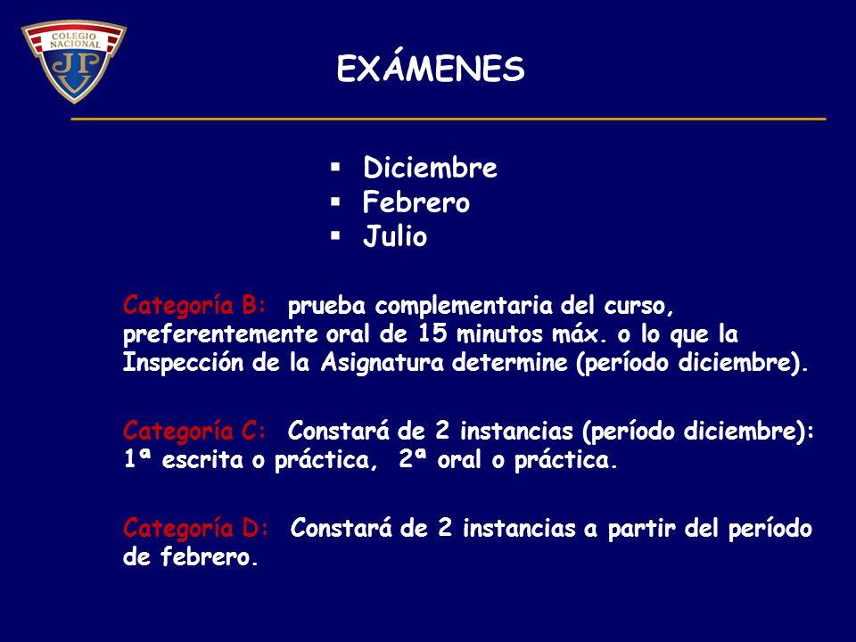 Categoría B: prueba complementaria del curso, preferentemente oral de 15 minutos máx.