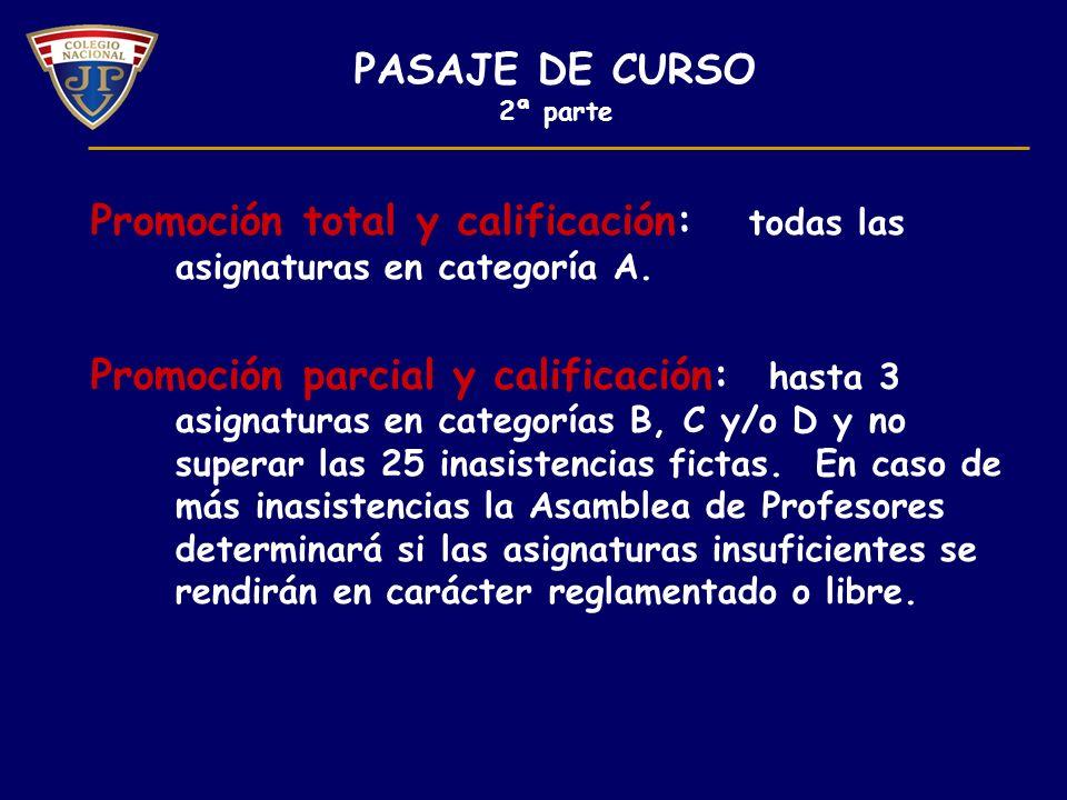 Promoción total y calificación: todas las asignaturas en categoría A.