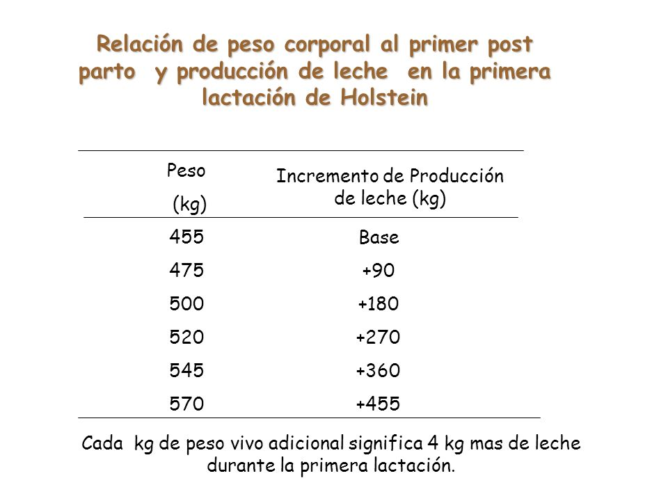 Peso (kg) 455 475 500 520 545 570 Incremento de Producción de leche (kg) Base +90 +180 +270 +360 +455 Relación de peso corporal al primer post parto y producción de leche en la primera lactación de Holstein Cada kg de peso vivo adicional significa 4 kg mas de leche durante la primera lactación.
