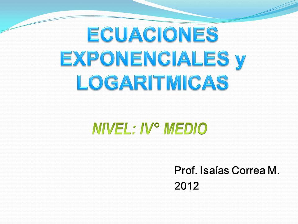 Objetivo : A partir del conocimiento de la definición y propiedades de los logaritmos, serás capaz de: Resolver ecuaciones exponenciales.